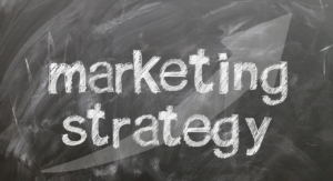Tafel mit Marketing Strategy